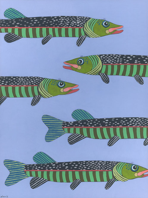 """Green Fish"" Original Painting"