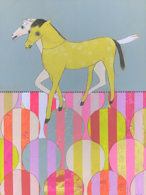 """On Exhibit Now at Wellness Mpls - """"Two Horses"""" Original Painting"""