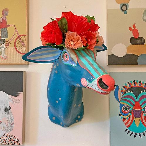 """""""Blue Deer"""" Hand-Painted Vintage Wall Hanging"""