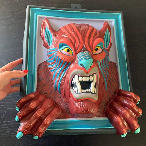 """""""Werewolf"""" Hand-Painted Vintage Wall Hanging"""