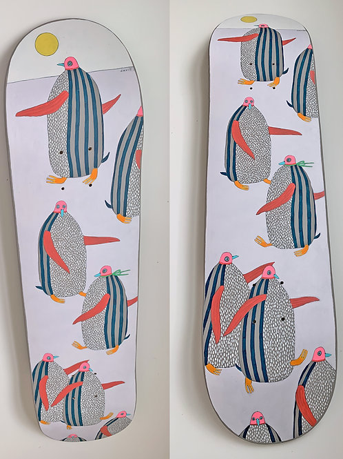 Penguins - Hand Painted Skate Deck