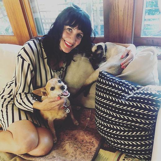 Artist Jennifer Davis with her friends Nina (dog) and Charlie (cat.)