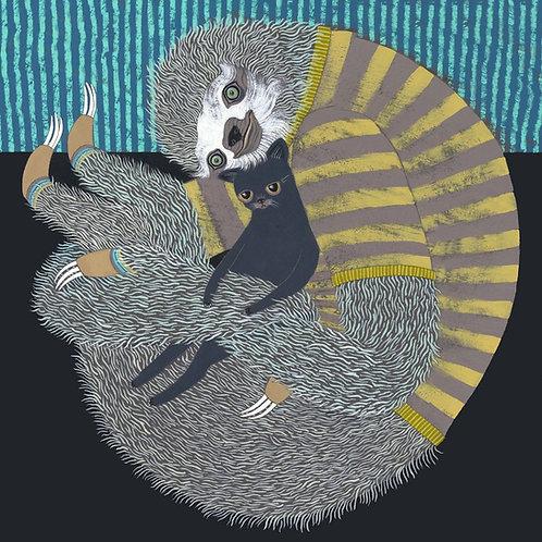 """Sloth and Kitten"" Mini Print"
