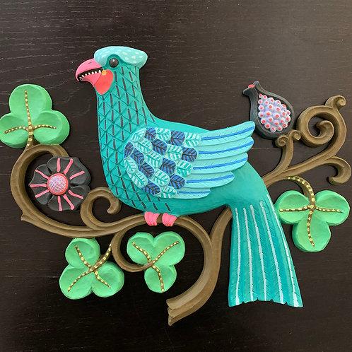 """""""Blue Bird"""" Original Hand-Painted Bird Wall Hanging"""