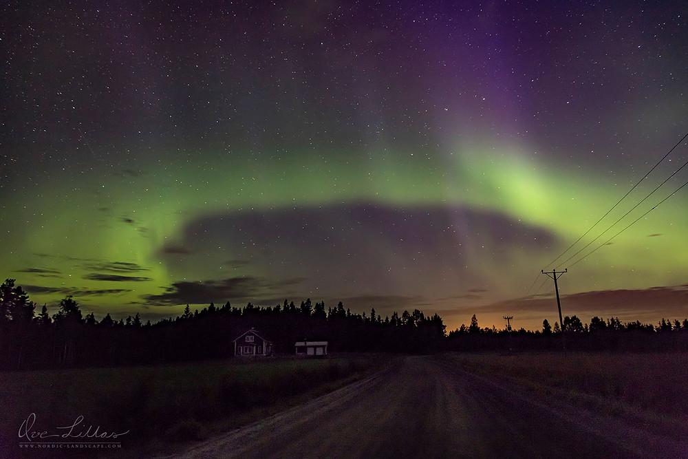 Aurora Borealis over the road.