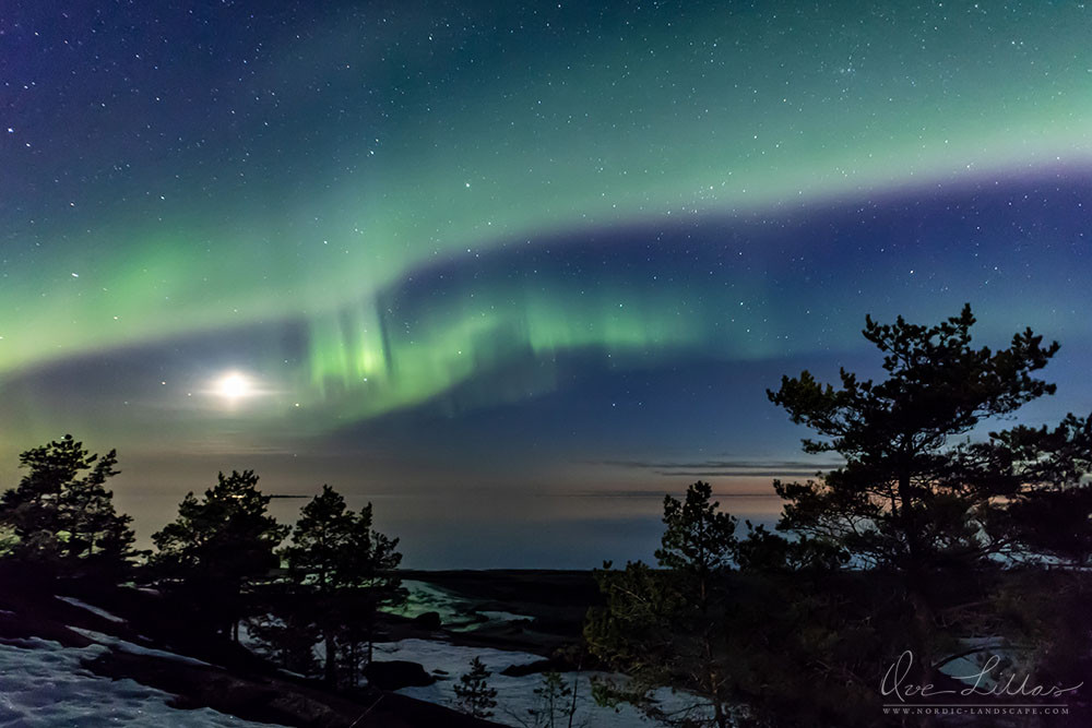 The Northern Lights and the moon