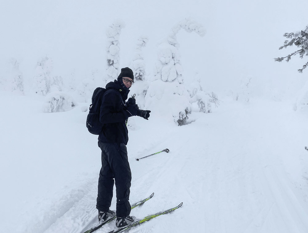 Skier with camera.