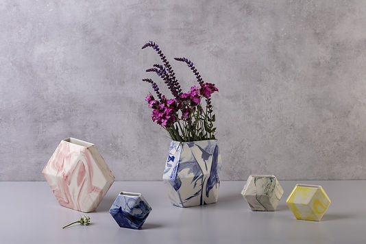 Hexagon ceramic vase