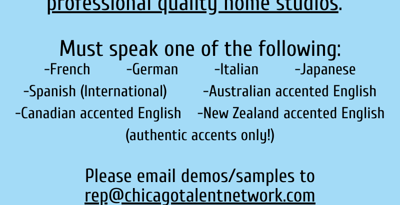 Calling All Foreign Language VO Speakers!