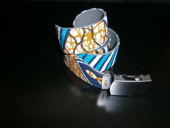 Gürtel / ceinture en wax bleu