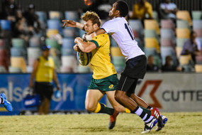 Theo Strang of Australian is tackled high against Fiji at 2017 U20 Oceania Cup at Bond University