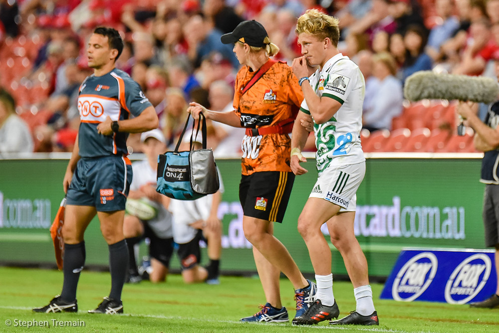 Damian McKenzie left the field with a head knock
