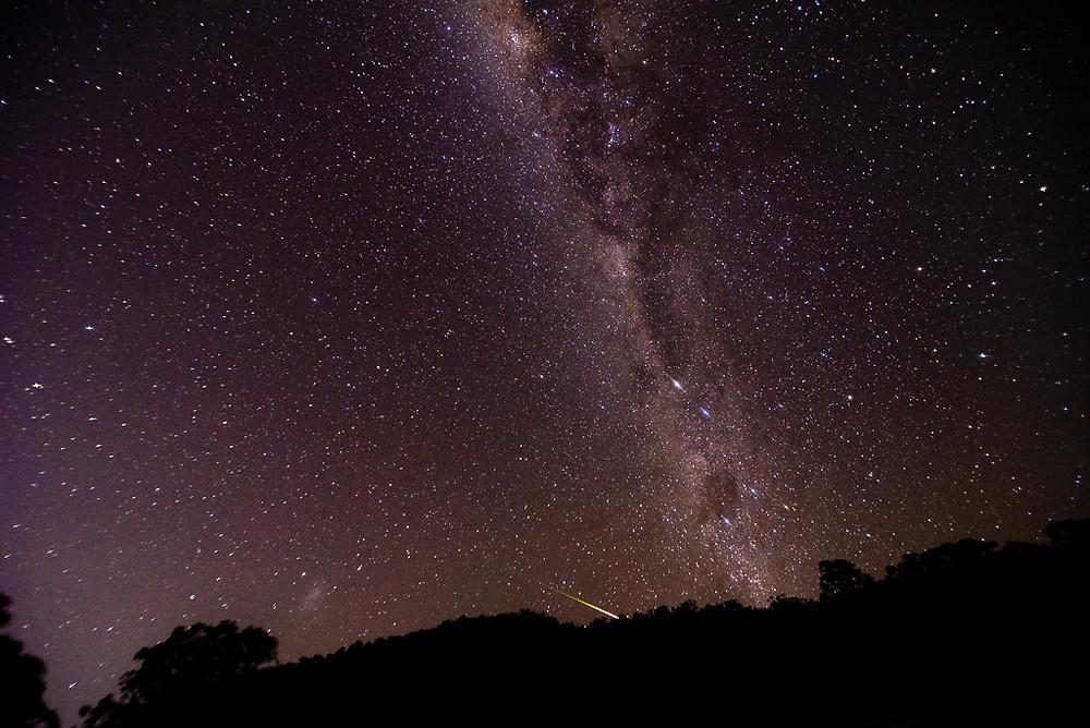 Milky Way plus meteor (16mm, f/2.8, 15 sec, ISO 1600)