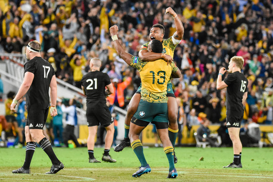 Samu Kerevi and Tevita Kuridrani celebrate an Australian win, Wallabies v All Blacks, Bledisloe Cup 3, Suncorp Stadium, 2017