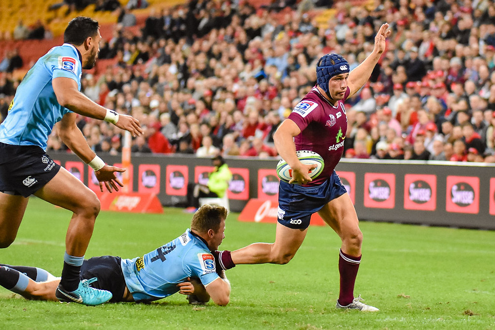 Hamish Stewart in Action for the Queensland Reds v NSW Waratahs