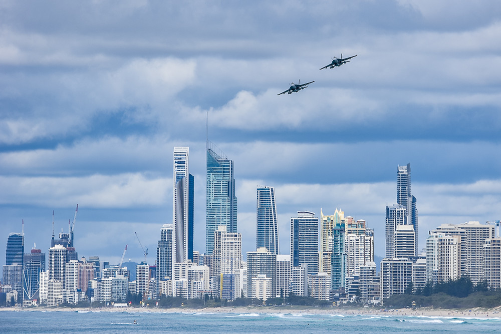 2 x F/A-18F Super Hornets doing a fly-past of Surfers Paradise