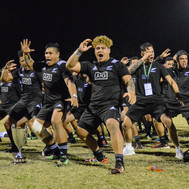 Alex Fidow of New Zealand leads the haka at 2017 U20 Oceania Cup at Bond University