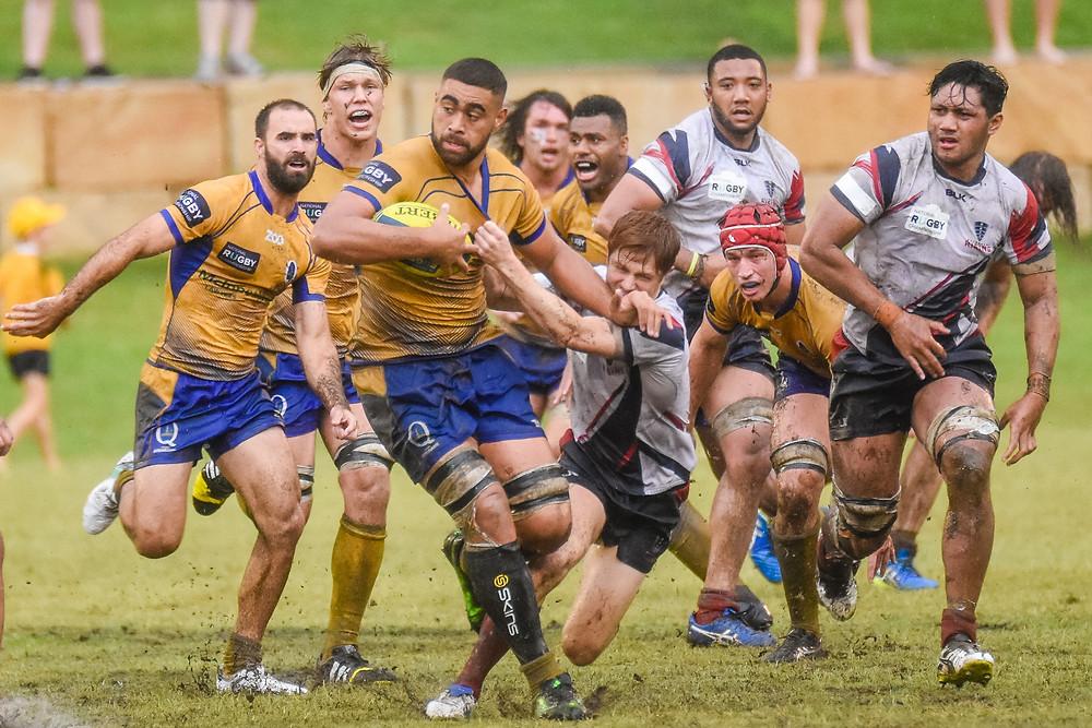 Lukhan Tui makes a break against Melbourne Rising