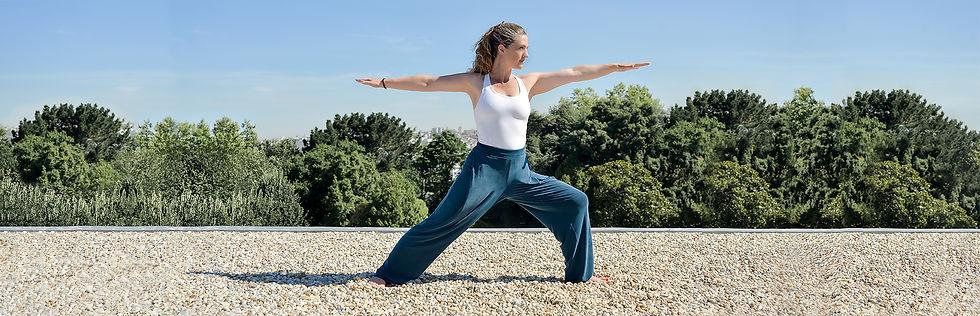 Anna Gagliano in Virabhadrasana II Pose, Yoga