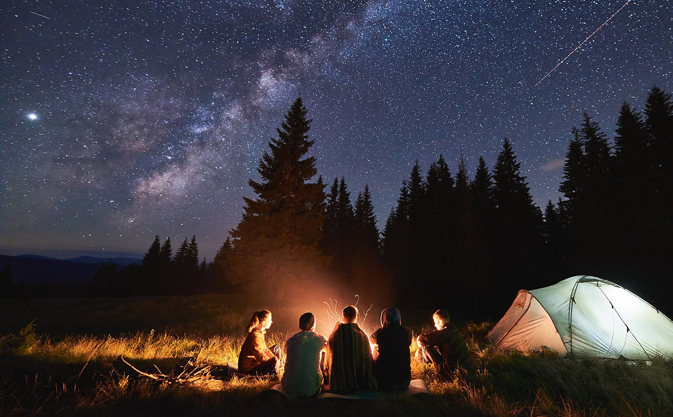 Group of people around a campfire next to a camp and under the night sky
