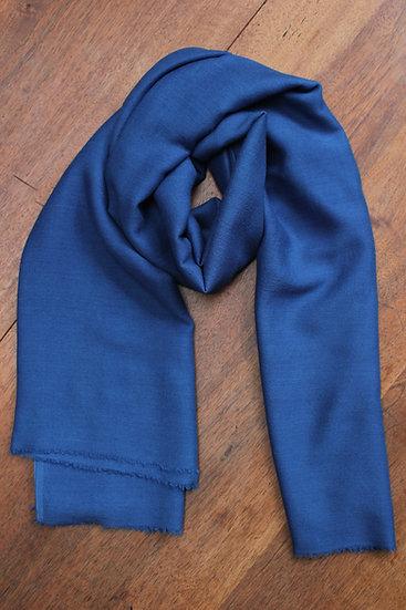 Foulard soie et laine - Indigo soutenu