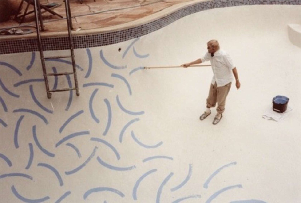 David Hockney painting pools