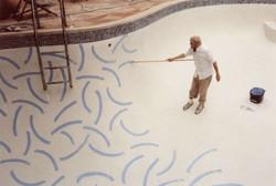 David Hockney painting pools