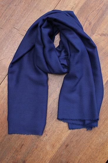 Foulard soie et laine - Indigo profond