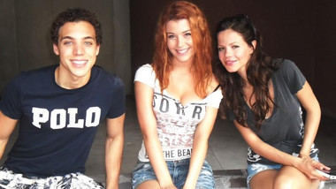 Sarah Bonrepaux on the set of 'CAM2CAM' with Ben Wiggins and Tammin Sursok