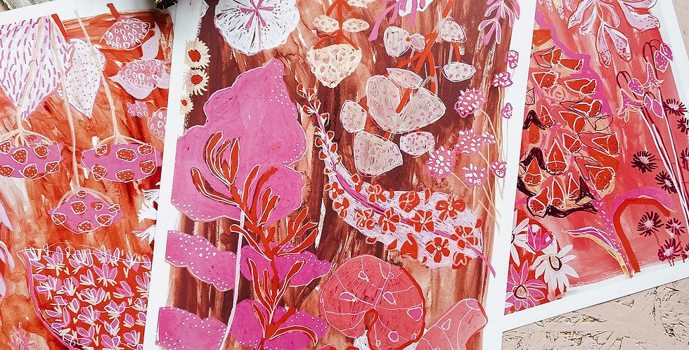 Print Set: 3 x Feeling Pink & Brown Prints