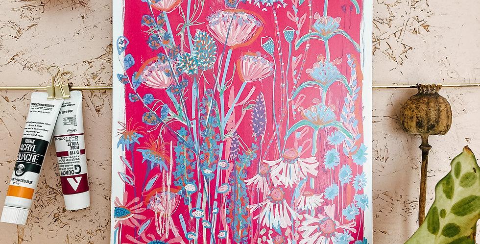 Pink Garden House A4 Print