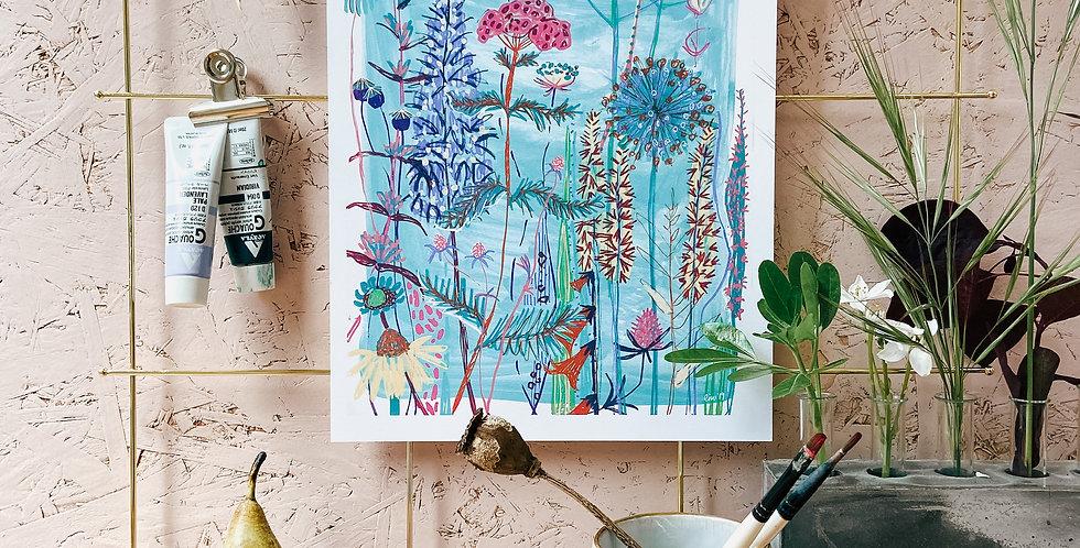 Blue Garden House A4 Print