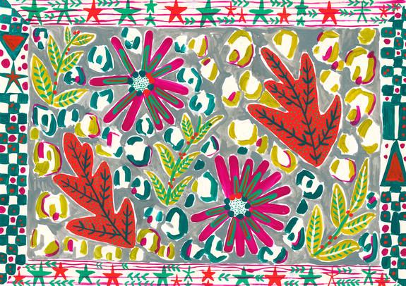 Leopard Florals, Gouache on Paper, 2018