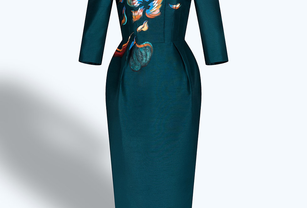 FLOWERS BURING-PAINTED PRUSSIAN BLUE MIDI DRESS