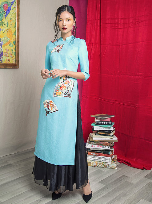 JAPANESE FANS-PAINTED AODAI