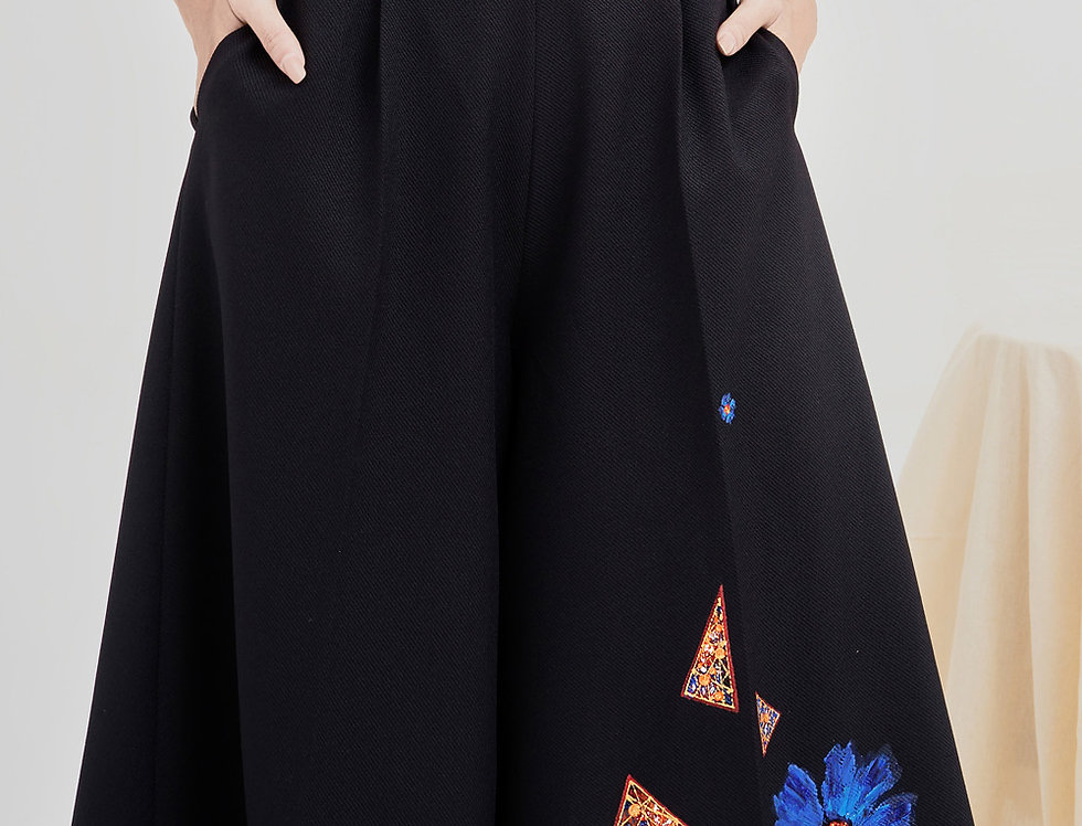 BLUE POPPY-PAINTED WIDE LEG PANT