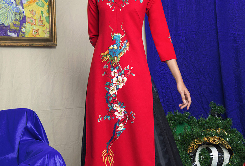 DRAGON-PAINTED RAGLAN SLEEVE AODAI