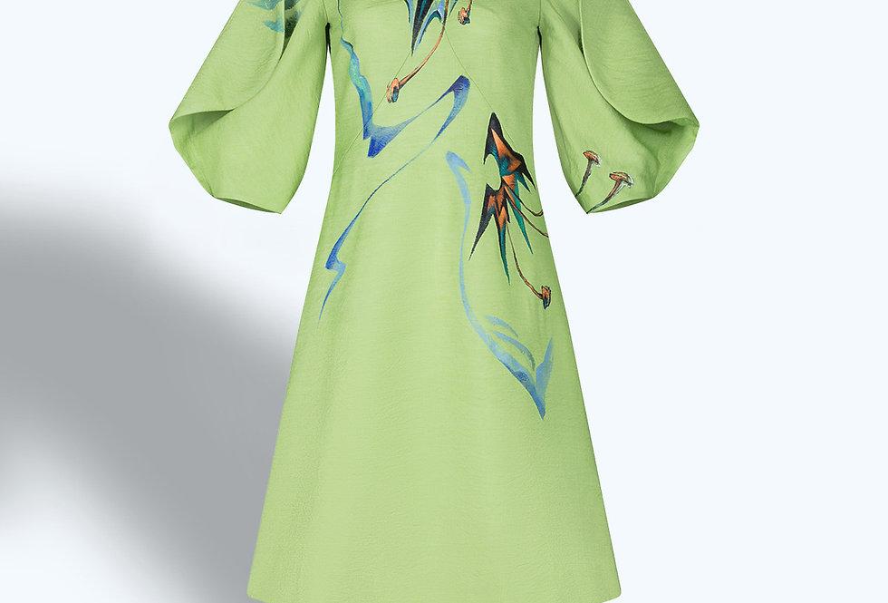 AMARYLLIS FLOWERSPAINTED VOLUMINOUS SLEEVE MINI DRESS