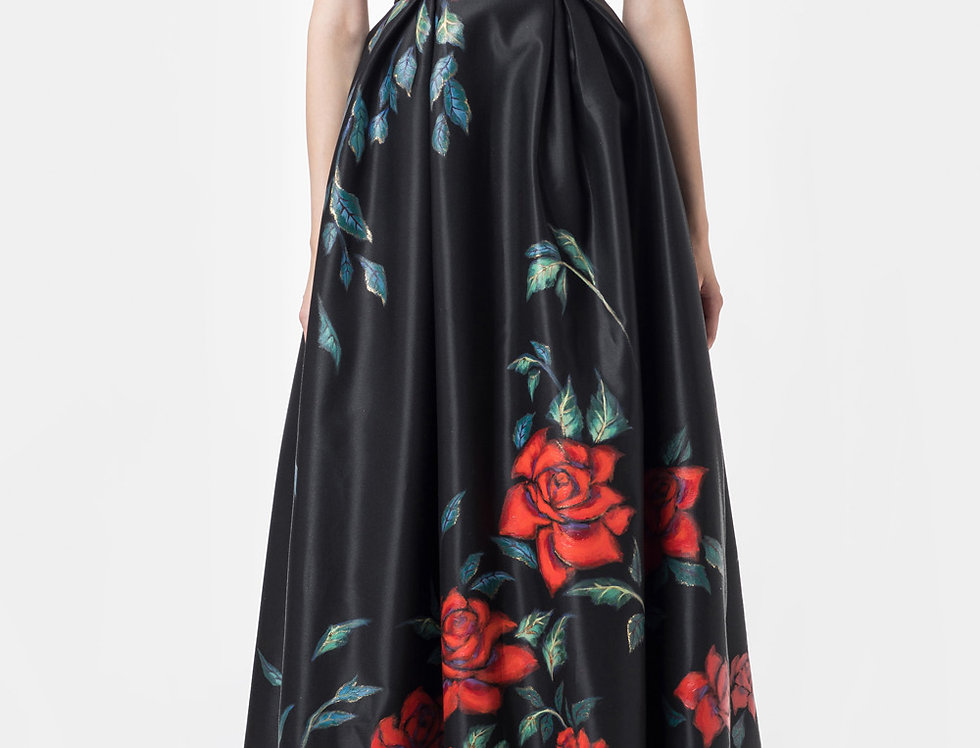ROSE-PAINTED SLEEVELESS GOWN DRESS