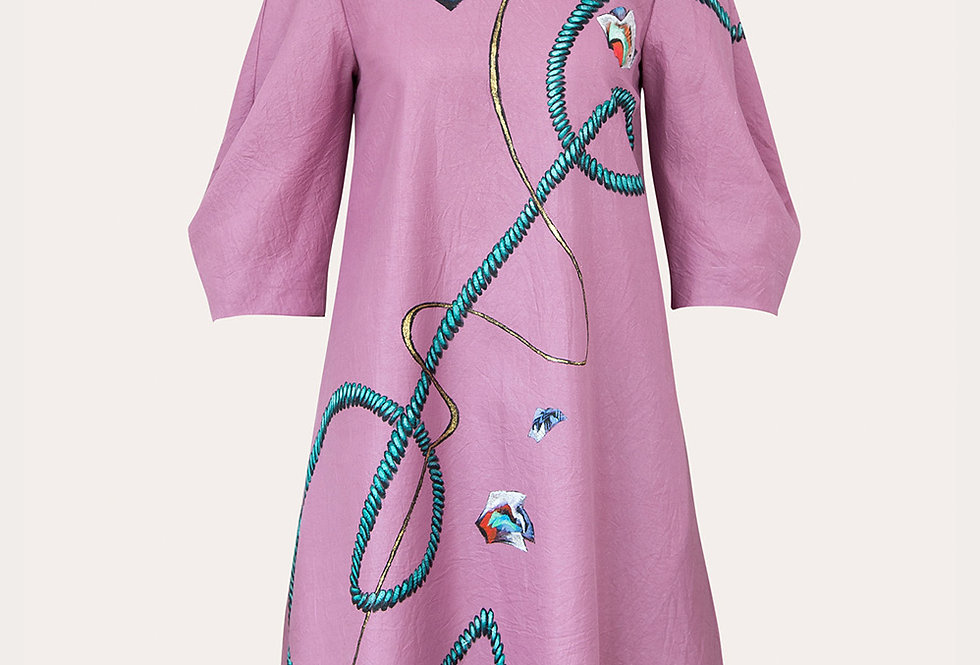 ROPES-PAINTED MINI SILK DRESS