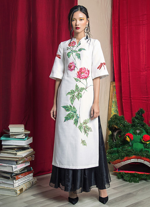 ROSE-PAINTED BELL SLEEVE AODAI