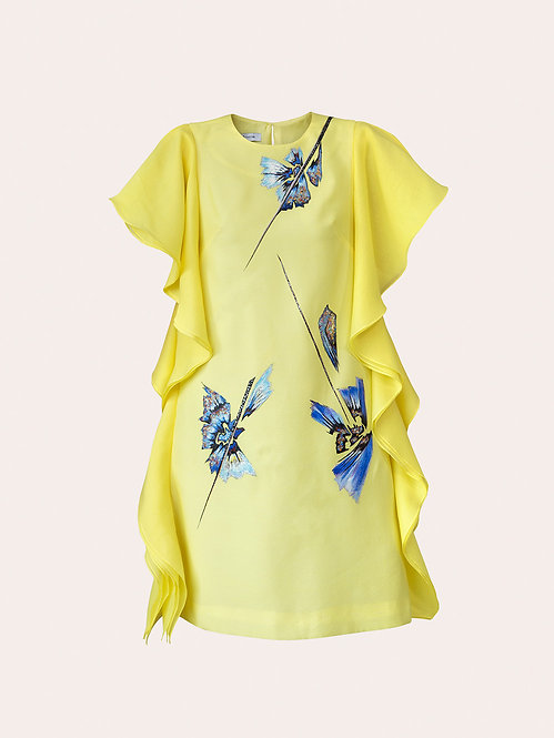ORCHID TREE FLOWER-PAINTED BUTTERFLY YELLOW DRESS