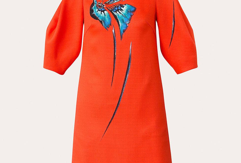 ORCHID TREE FLOWER-PAINTED VOLUMINOUS SLEEVE TWEED DRESS