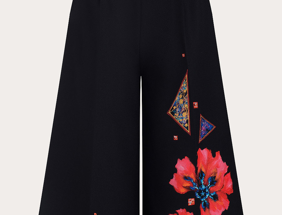 POPPY-PAINTED WIDE LEG PANT