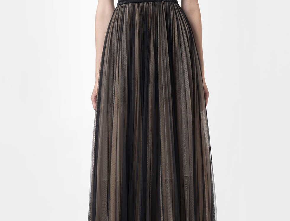 IRIS-PAINTED PLEATED GOWN DRESS