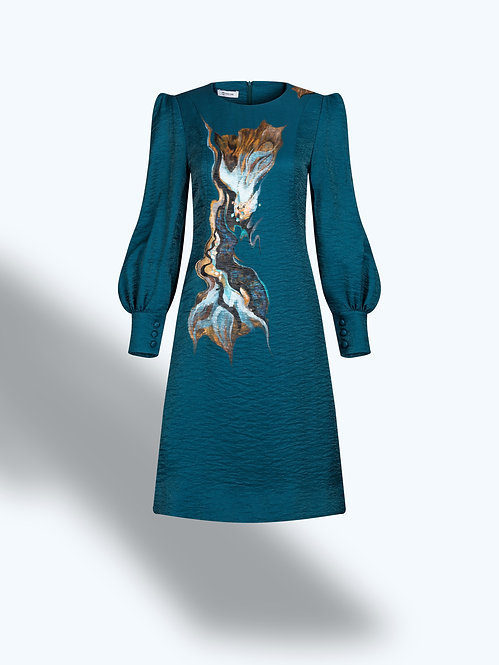 BLOOMING FOUNTAINHEAD-PAINTED PRUSSIAN BLUE DRESS