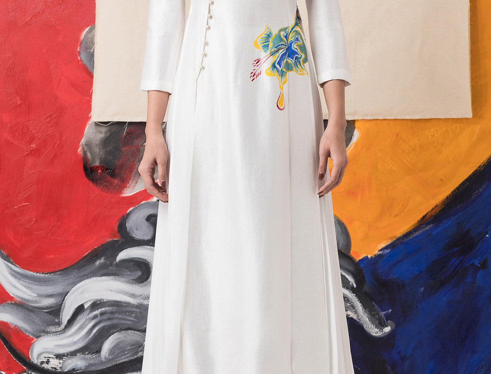 FLORAL-PAINTED CONTEMPORARY AODAI