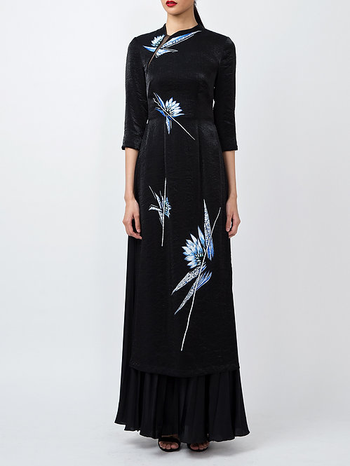 WATER LILY-PAINTED CONTEMPORARY BLACK AODAI