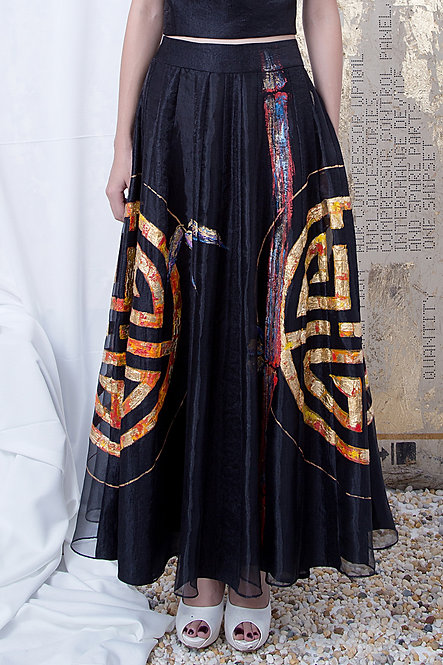 ASIAN STYLE-PAINTED PANEL MAXI SKIRT