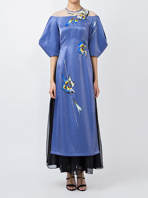 ORCHID TREE FLOWER-PAINTED VOLUMINOUS SLEEVE CONTEMPORARY AODAI